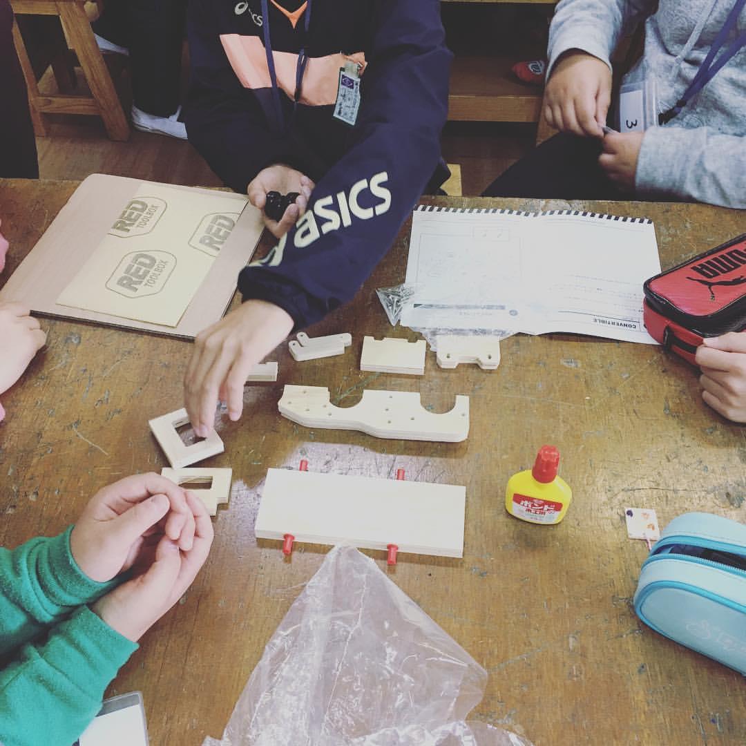 本日のモノづくり体験教室>工具と木工体験教室